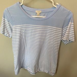 Light blue and white striped cotton t-shirt